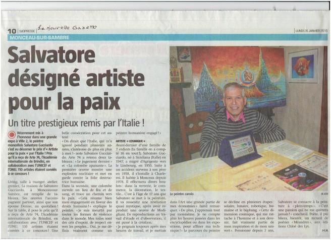 Salvatore désigné artiste pour la paix  2015
