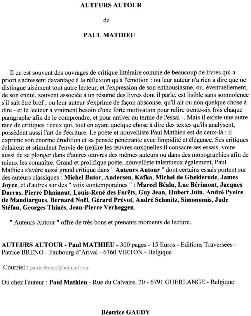 Béatrice Gaudy - Chronique - 12 7 15