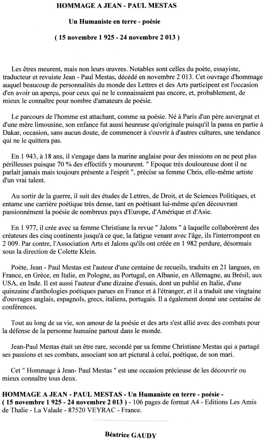 Béatrice Gaudy - Chronique 2 - 12 7 15
