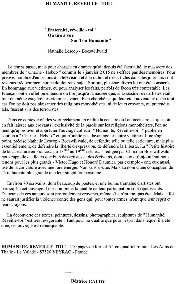 Béatrice Gaudy - Chronique 3 - 12 7 15