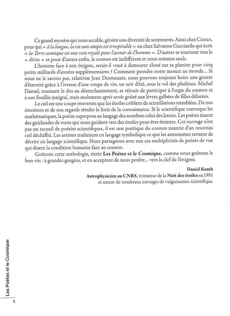 Les Poètes et le Cosmique  Anthologie de poésie 2015  Extraits de la Préface de l'Astrophysicien Daniel Kunth  4